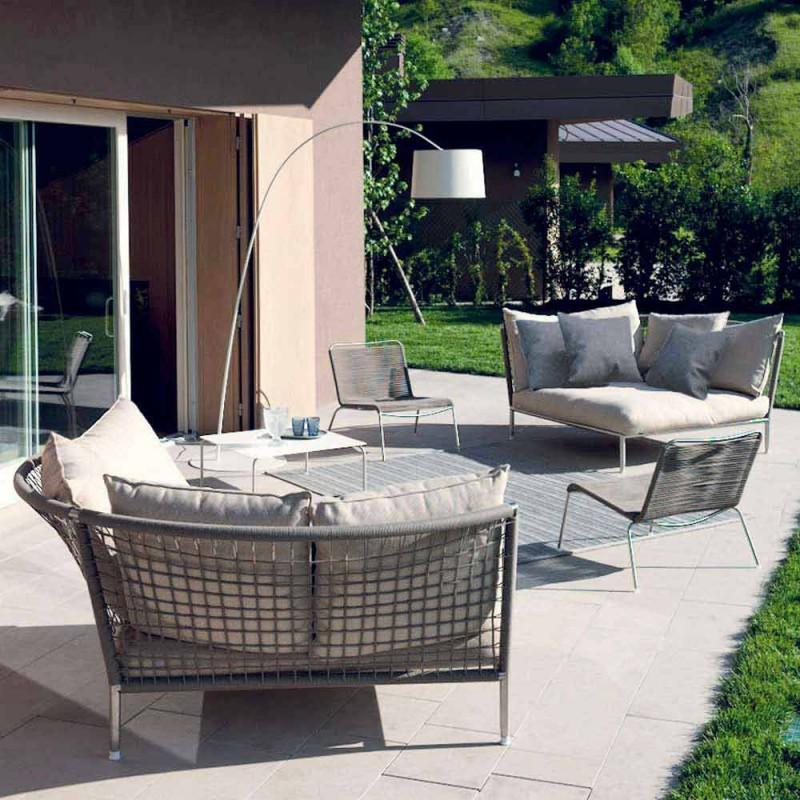 Divano Circolare da Giardino Tessuto Tortora di Design Made in Italy - Ontario4