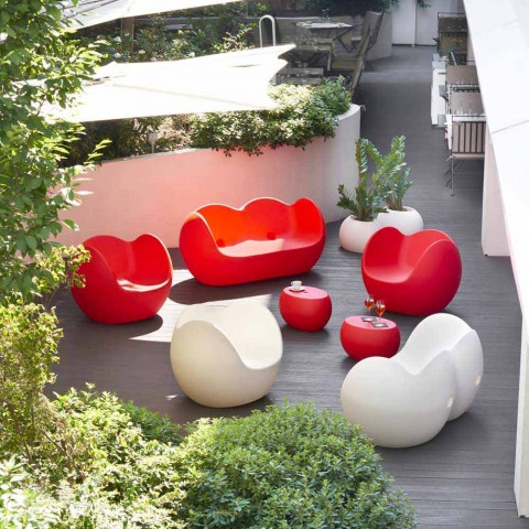 Divano colorato a dondolo Slide Blossy design moderno fatto in Italia