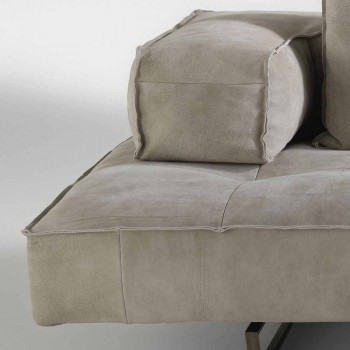Divano componibile design moderno Cardo, rivestimento in pelle