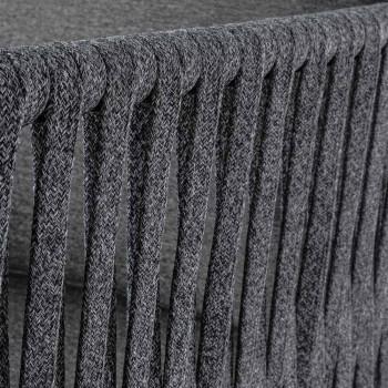 Divano da Esterno in Alluminio e Corda con Cuscini in Tessuto Homemotion - Shama
