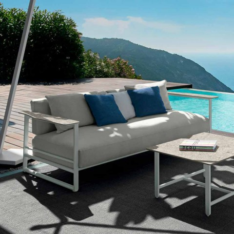 Divano da Esterno in Alluminio, Tessuto e Braccioli in Gres - Riviera by Talenti