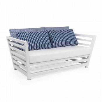 Divano da Giardino 2 Posti in Alluminio Bianco o Nero e Cuscini Blu - Cynthia