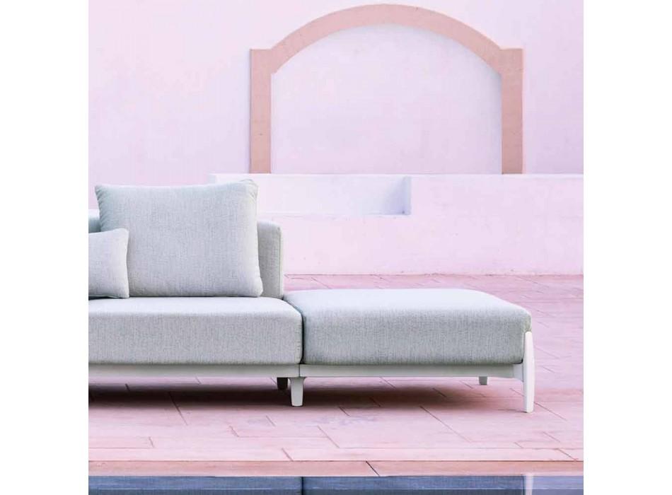 Divano da Giardino 3 Posti con Allunga, Design in Alluminio e Tessuto - Filomena