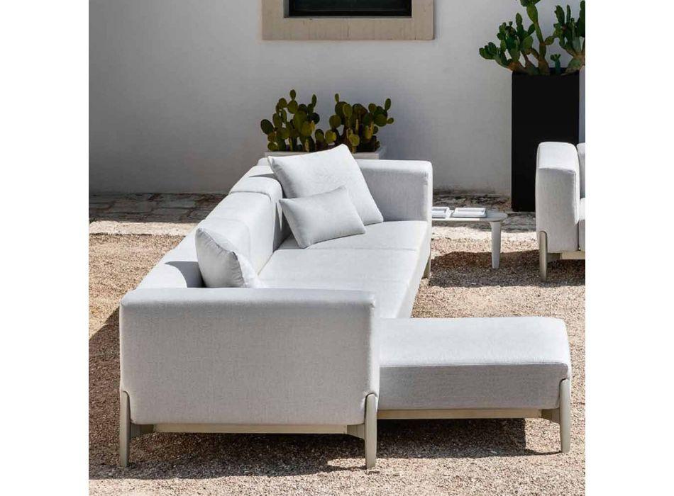 Divano da Giardino 3 Posti con Chaise Longue in Alluminio e Tessuto - Filomena