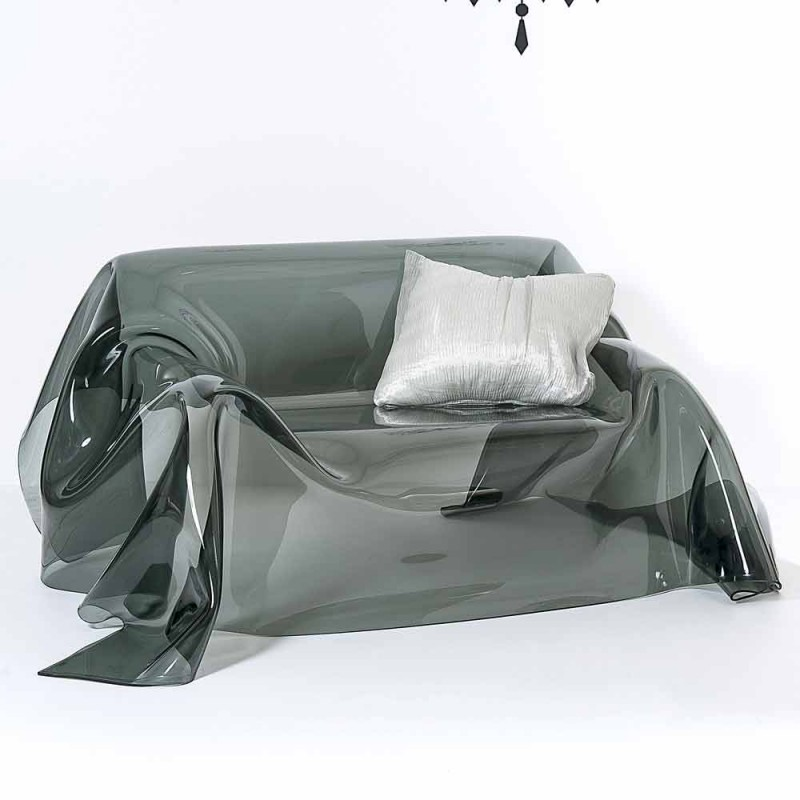 Divano dal design moderno in plexiglass fumè Jolly, made in Italy