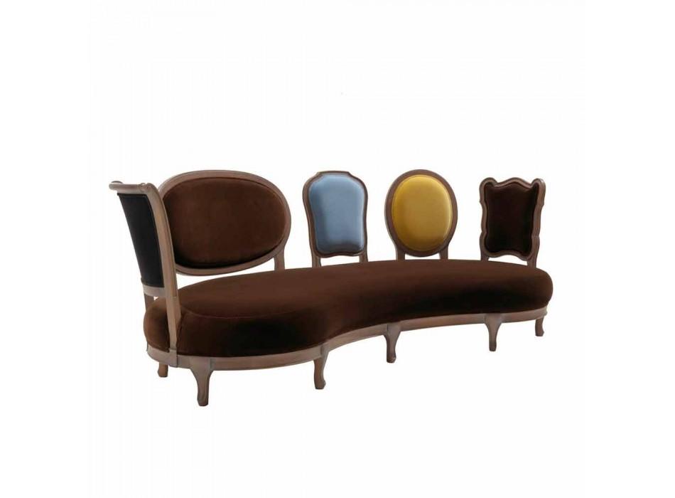Divano design lusso, 5 schienali in legno massello,made in Italy,Manno