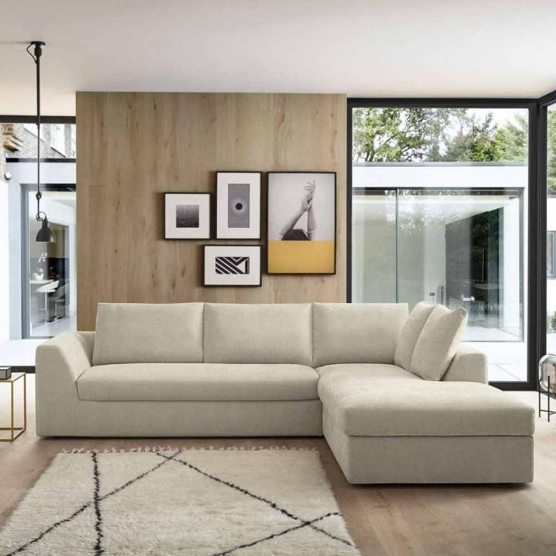 Divano Letto Angolare di Design in Tessuto Beige Realizzato in Italia - Ortensia