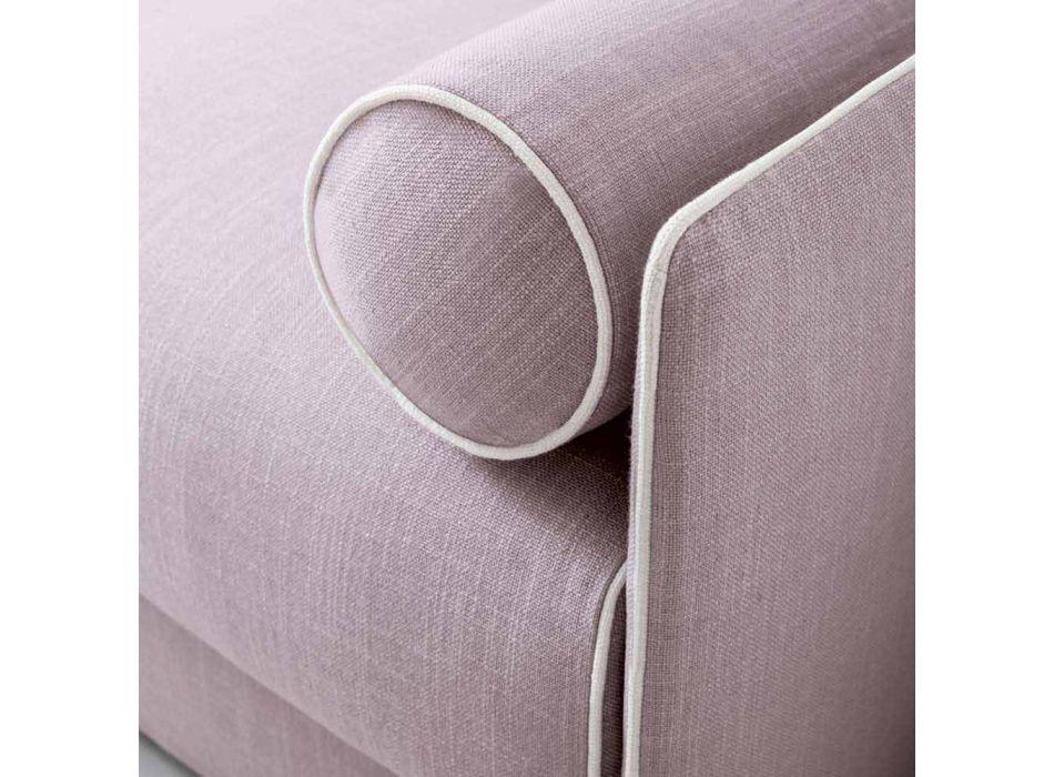 Divano Letto in Tessuto Rosa Pallido con Bordo Bianco Made in Italy - Papavero
