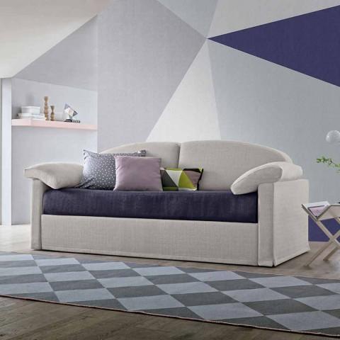Divano Letto Moderno Rivestito in Tessuto Bicolore Realizzato in Italia - Kayla