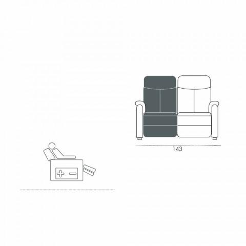 Divano motorizzato 2 posti con 1 seduta elettrica Gelso,design moderno