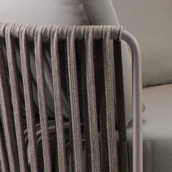 Divano per Esterno a 3 Posti in Metallo, Corda e Tessuto Made in Italy - Mari