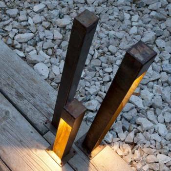 Faretto da Esterno Artigianale in Ferro Finitura Corten Made in Italy - Sparta