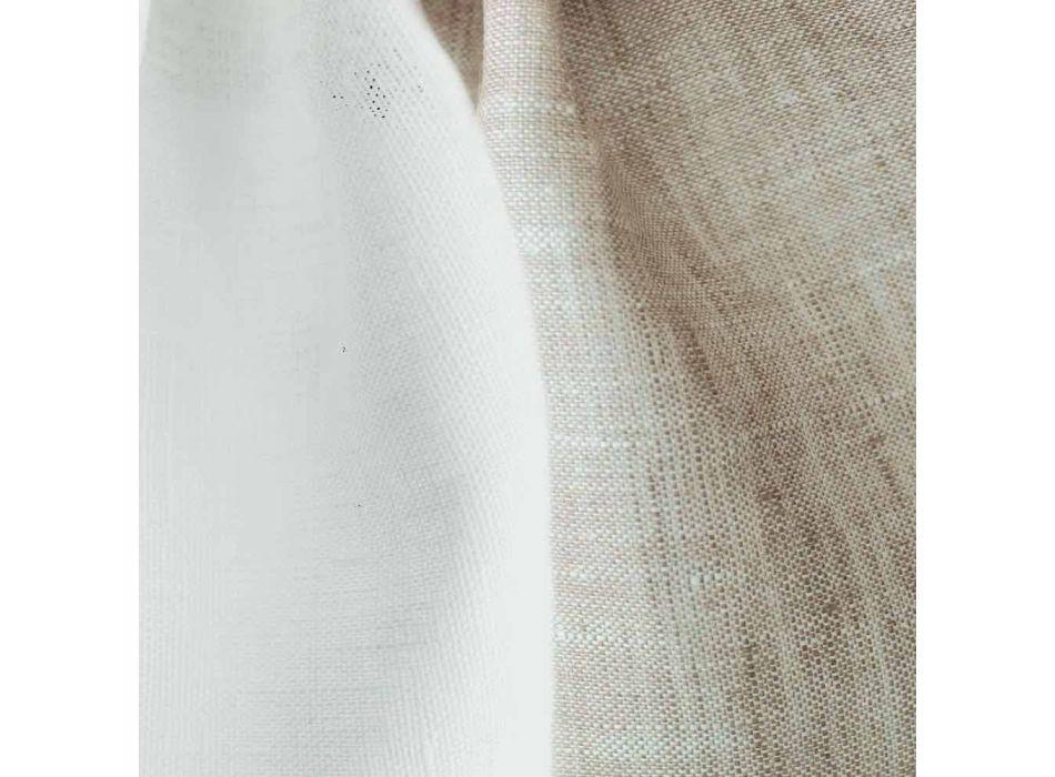 Federa Cuscino in Lino Bicolore Bianco e Naturale Made in Italy – Chiana