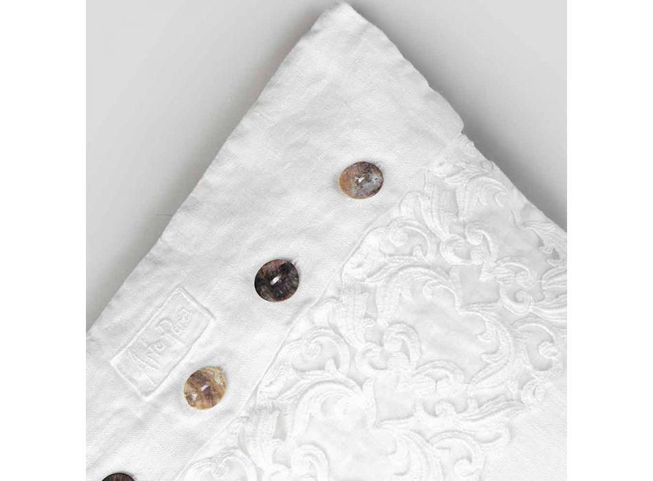 Federa Cuscino Quadrato Bianca con Pizzo e Bottoni Lusso Italiano - Logos