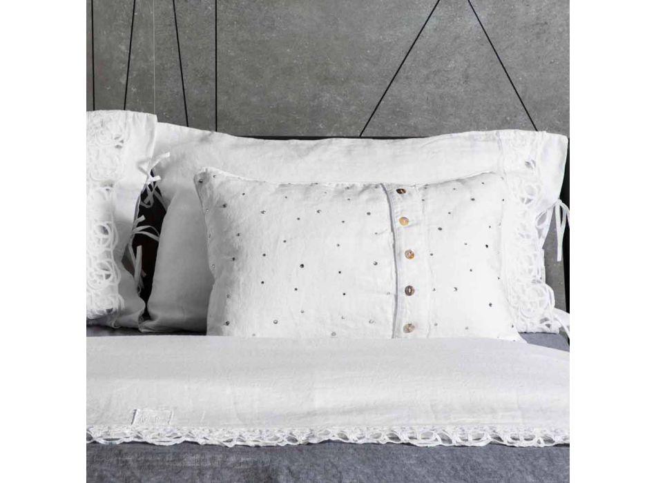Federa in Lino Bianco con Cristalli di Decoro Design Rettangolare - Cenerella