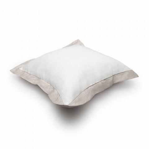 Federa per Cuscino in Puro Lino Bicolore Bianco e Naturale Made in Italy – Poppy