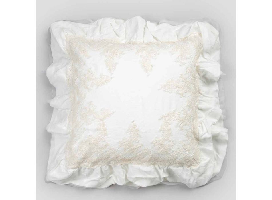 Federa Quadrata in Lino Bianco con Pizzo di Decoro sui Bordi e Balze - Priscilla