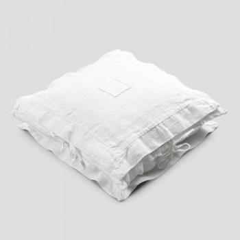 Federa Quadrata in Lino Pesante Bianco e Laccetti Made in Italy - Matero
