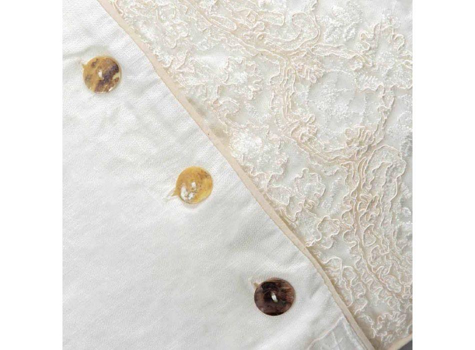 Federa Rettangolare con Pizzo Elegante in Lino Bianco Design da Letto - Gioiano