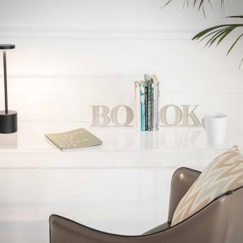 Fermalibri di Design in Plexiglass Beige o Bianco Scritta Book - Febook