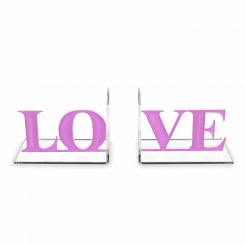 Fermalibri di Design in Plexiglass Lavanda o Rosso Scritta Love - Felove