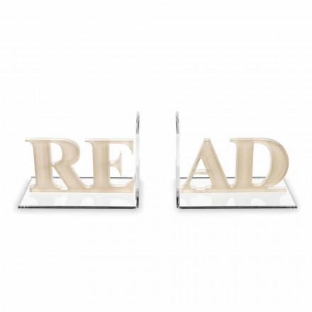 Fermalibri in Plexiglass Beige o Bianco Scritta Read di Design - Feread
