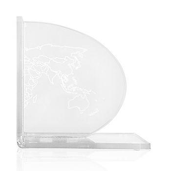 Fermalibri in Plexiglass Trasparente Design con Mappa 2 Pezzi - Aretone