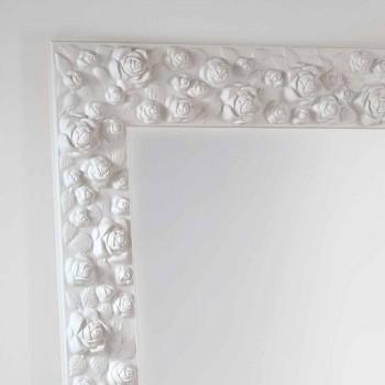 Grande specchiera bianca da terra / muro con cornice in legno Flower
