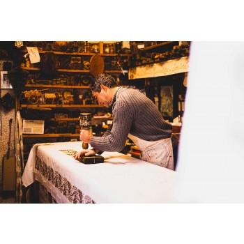 Grembiule d'Artigianato Italiano in Cotone con Stampa Artistica Manuale - Marchi