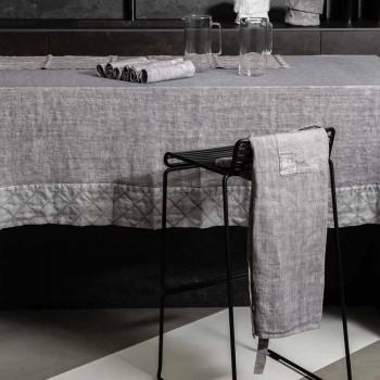 Grembiule da Cucina in Lino Grigio Antracite Modello Basso con Taschino - Flick
