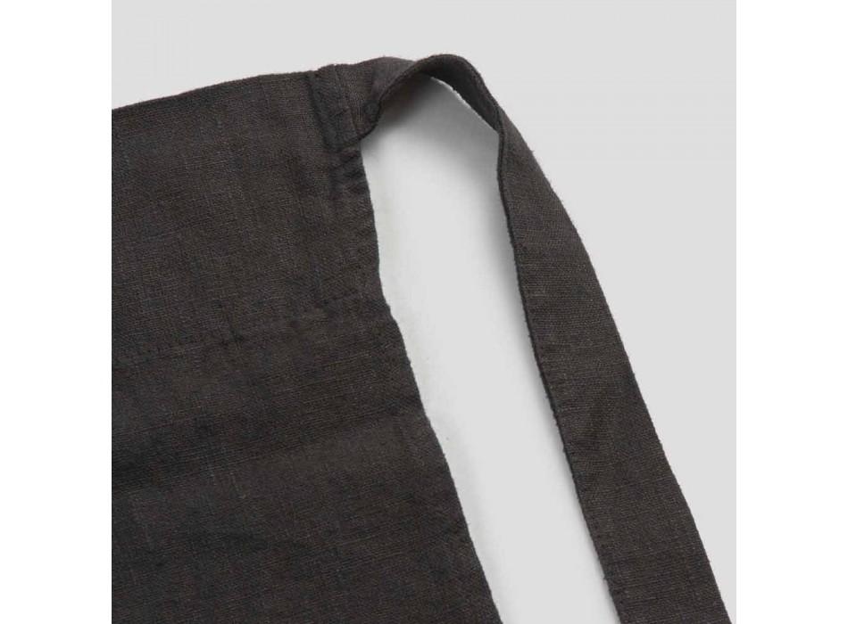 Grembiule da Cucina Lino Nero con Cristalli Modello Basso con Taschino - Click