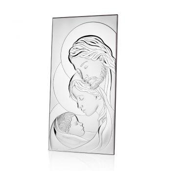 Icona Argento Sacra Famiglia Design Verticale da Tavolo 2 Misure - Famisca