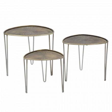 Insieme di 3 Tavolini da Salotto di Design Moderno in Ferro - Marla