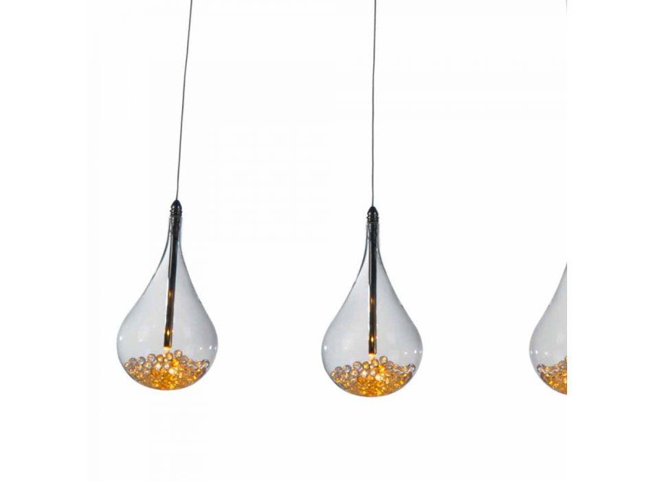 Lamapada a Sospensione di Design in Vetro Borosilicato e Metallo Cromato – Pere