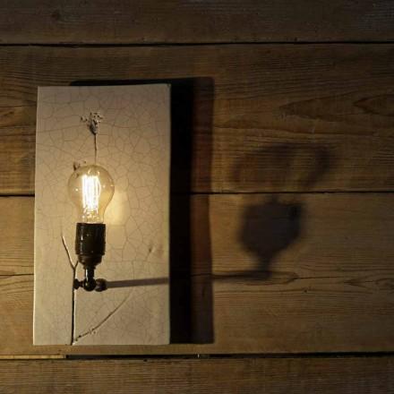 Lampada a Muro in Ceramica Lavorata a Mano e Ferro Made in Italy - Floria