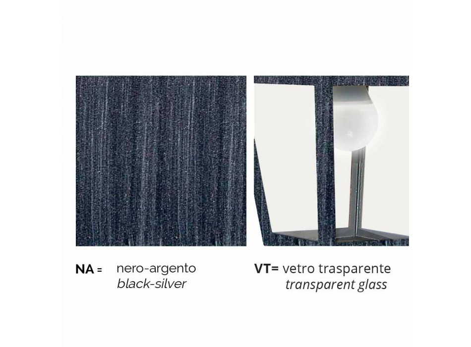 Lampada a parete da esterno in alluminio prodotta in Italia, Aquilina