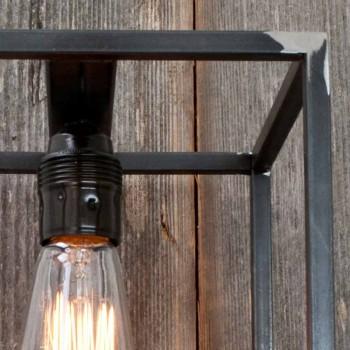 Lampada a Parete Fatta a Mano con Struttura in Ferro Nero Made in Italy - Cubola
