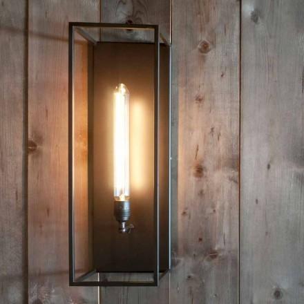 Lampada a Parete Artigianale con Struttura in Ferro Nero Made in Italy - Brina