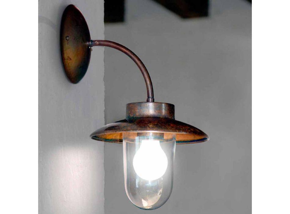 Lampada a parete La Traviata in rame, vetro, ottone anticato