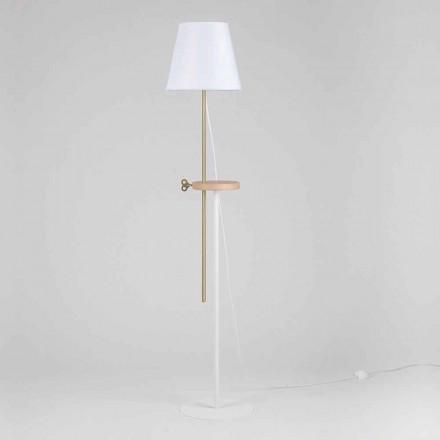 Lampada a Piantana Design in Acciaio, Frassino e Ottone Made in Italy - Pitulla