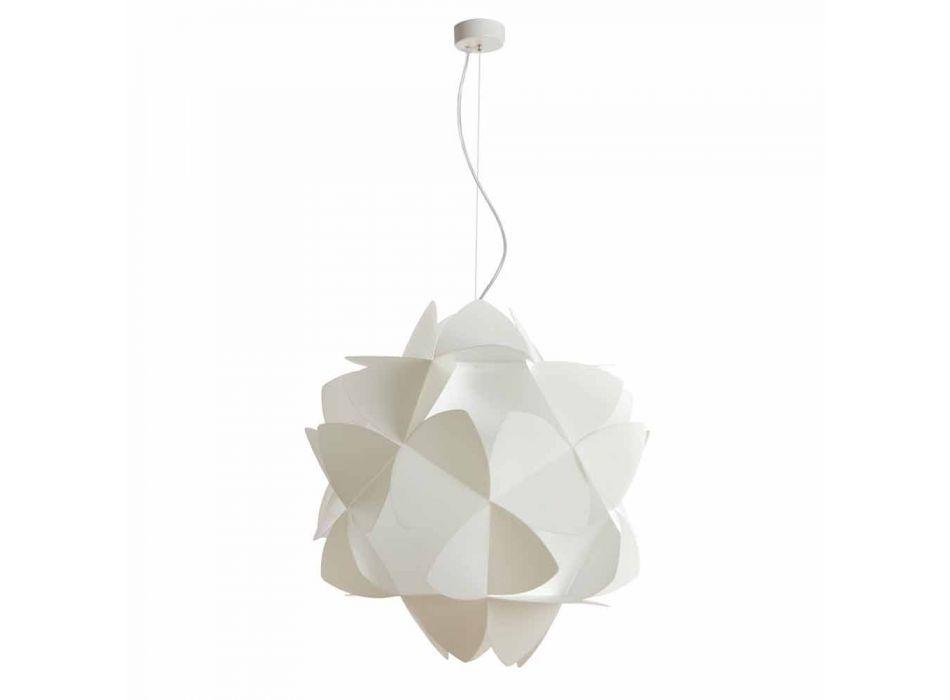 Lampada a sospensione 3 luci bianco perla, diametro 63 cm,Kaly