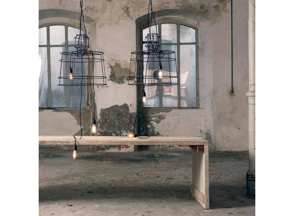 Lampada a Sospensione 3 Luci in Metallo Bianco o Naturale Design - Stilizzo