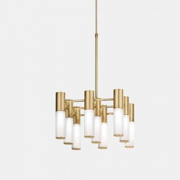 Lampada a Sospensione 9 Luci in Ottone e Vetro Design - Etoile by Il Fanale