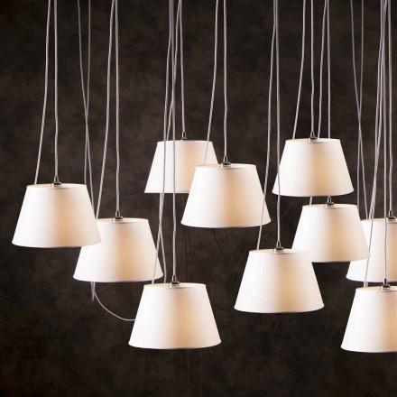 Lampada a sospensione a 12 luci con diffusore bianco Chrome