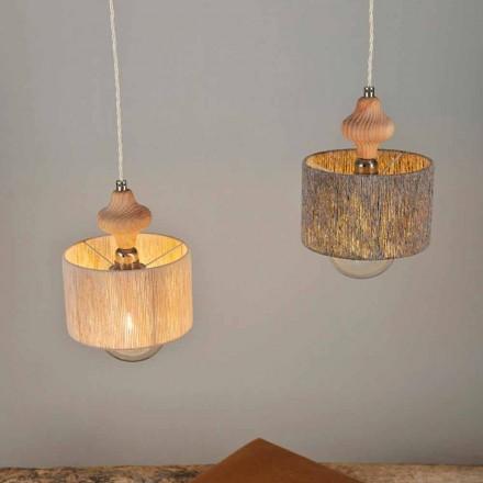 Lampada a sospensione a 2 luci con inserto in legno Bois