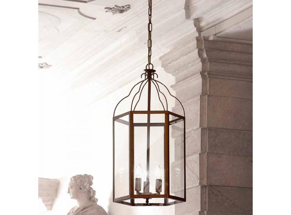 Lampada a sospensione a 3 luci in ottone e vetro Turandot
