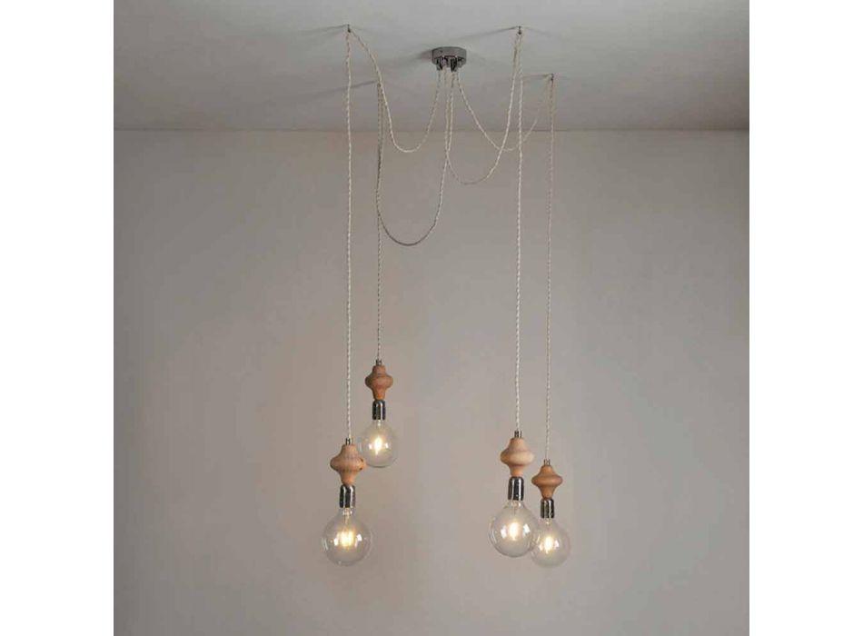 Lampada a sospensione a 4 luci con elemento in legno Bois