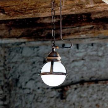Lampada a sospensione Cimosa in ottone e vetro bianco