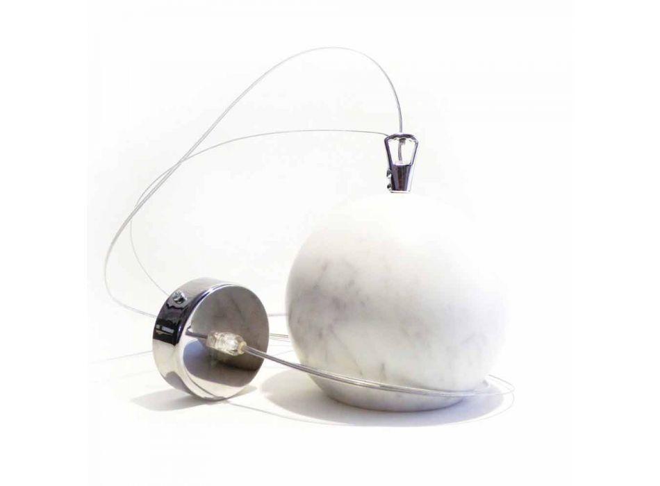 Lampada a Sospensione di Design in Marmo Bianco di Carrara Made in Italy - Panda