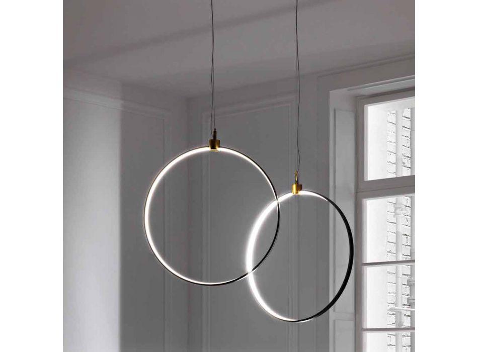 Lampada a Sospensione in Alluminio Nero e Ottone Naturale Made in Italy - Norma